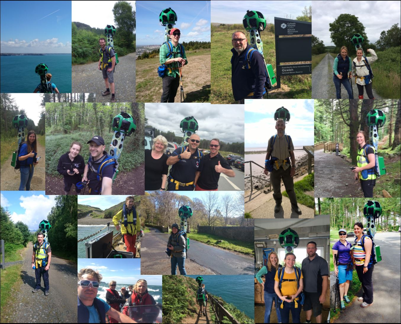 Collage of NRW staff using the Street View Trekker